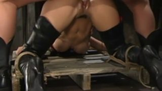 Bad girl in boots gets punished