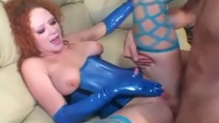 Redhead fucking in stockings and latex